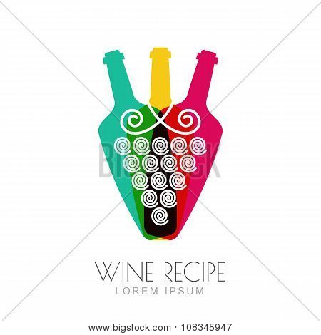 Vector Grape Vine And Wine Bottles, Negative Space Logo Design Template.