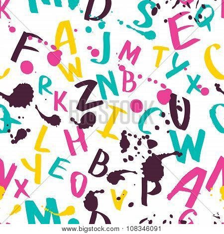 Vector Seamless Pattern With Watercolor Latin Alphabet