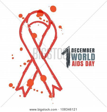 Vector Watercolor Hand Painted Illustration Of Red Ribbon Aids Symbol.
