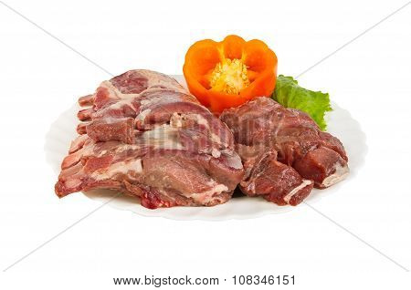 Semi-finished Products Made Of Wild Boar Meat On The Plate, Isolated
