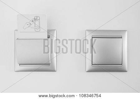 Hotel Open Room Card System With Light Switch White Wall