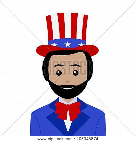 Uncle Sam With Black Hair And Beard