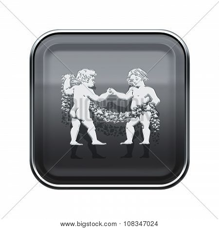 Gemini Zodiac Icon Grey, Isolated On White Background