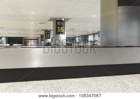 Baggage Claim Belts Area In A Modern Airport. Nobody