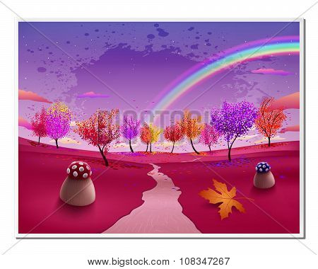 Abstract Picture With Magic Forest Autumn Defoliation Landscape And Rainbow In Vector