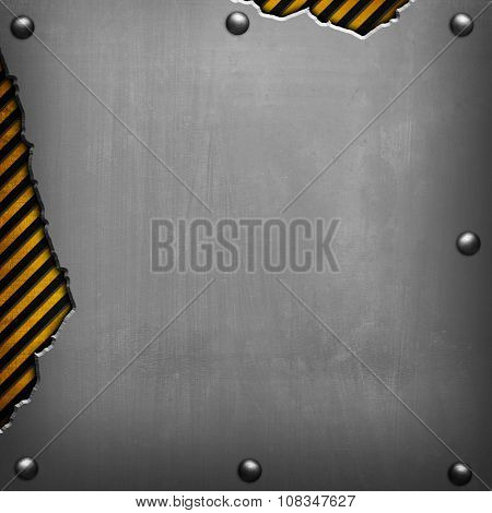 cracked metal with warning stripes background