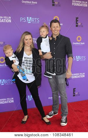 LOS ANGELES - NOV 15:  Beverley Mitchell, Michael Cameron, children at the Express Yourself 2015 presented by P.S. ARTS at the Barker Hanger on November 15, 2015 in Santa Monica, CA