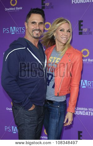 LOS ANGELES - NOV 15:  Don Diamont, Cindy Ambuehl at the Express Yourself 2015 presented by P.S. ARTS at the Barker Hanger on November 15, 2015 in Santa Monica, CA