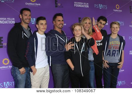 LOS ANGELES - NOV 15:  Don Diamont, Cindy Ambuehl, their sons at the Express Yourself 2015 presented by P.S. ARTS at the Barker Hanger on November 15, 2015 in Santa Monica, CA