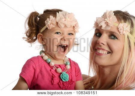 Young mother and daughter having fun isolated on a white background