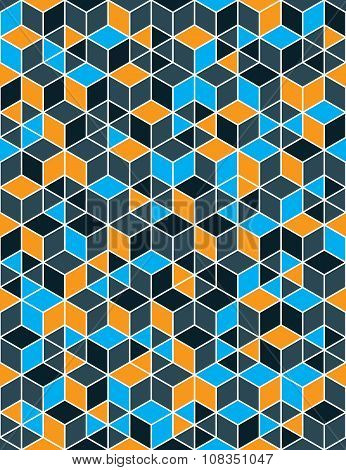 Colorful Abstract Textured Geometric Seamless Pattern. Vector Bright Textile Backdrop With Cubes