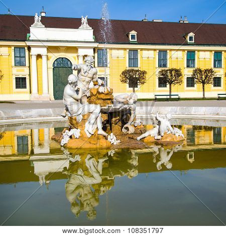 Danube, Inn, and Enns fountain statues at the Schonbrunn Palace in Vienna