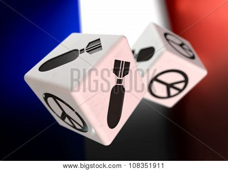 Dice With War And Peace Symbols On Each Side. Rolling Dice With French Flag In Background.