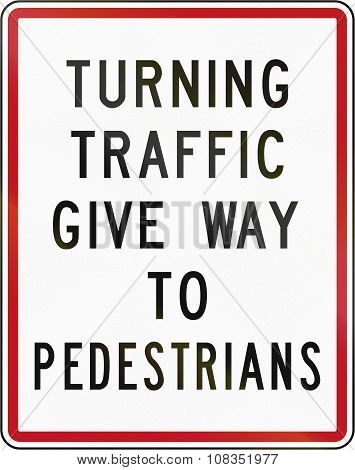 New Zealand Road Sign Rg-27 - Turning Traffic Give Way To Pedestrians