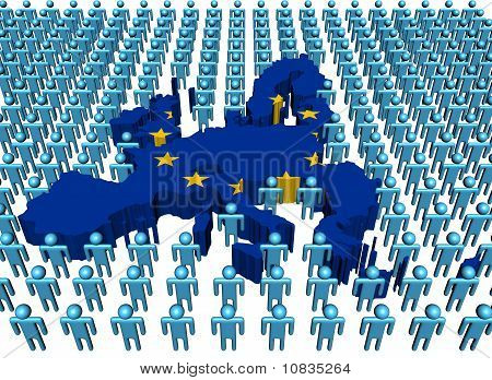 EU Map Flag with Many People