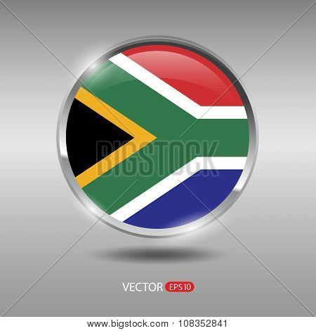 Shiny, glossy vector badge with South Africa flag