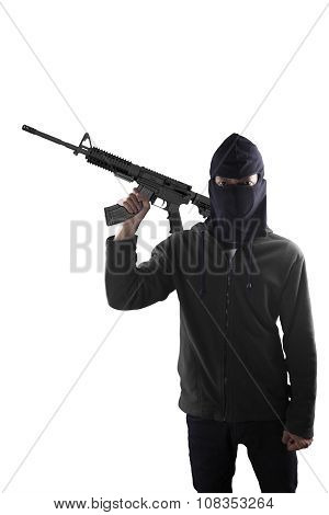 Terrorist With A Machine Gun Over White