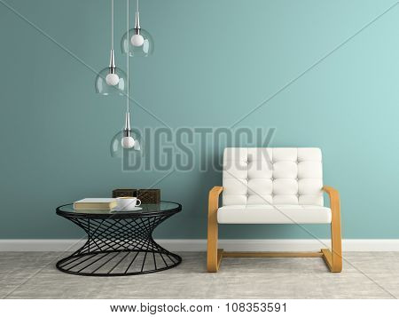 Part of  interior with glass lamp 3D rendering