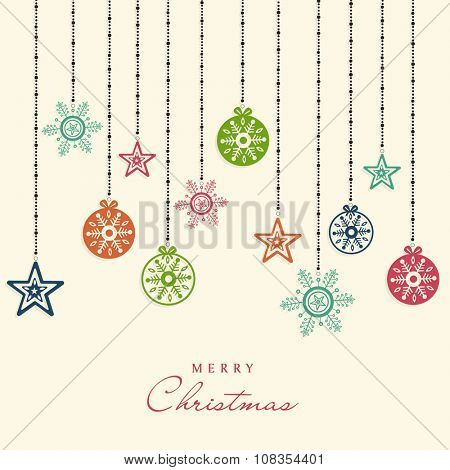 Colorful Xmas Balls, star and snowflakes decorated greeting card design for Merry Christmas celebration.