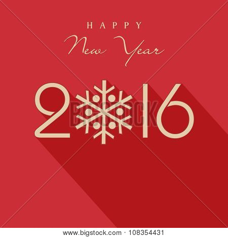 Stylish text 2016 with snowflake for Happy New Year celebration.