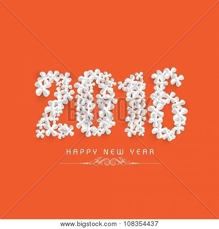 Stylish text 2016 made by creative flowers on orange background for Happy New Year celebration.