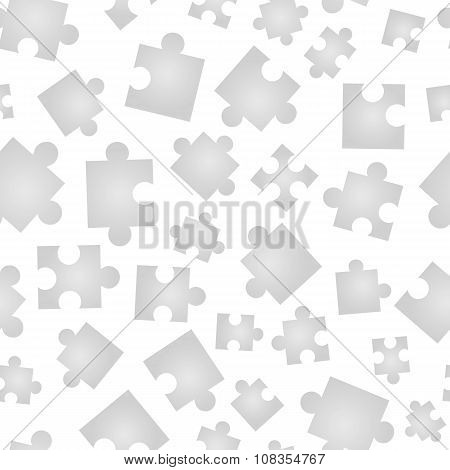 Jigsaw pieces isolated on white seamless pattern