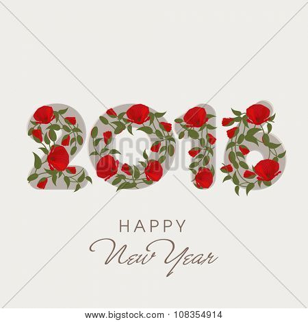 Stylish text 2016 with flowers on white background for Happy New Year celebration.