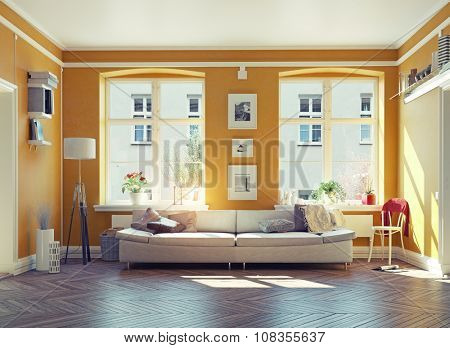 the modern living room interior.3d design concept
