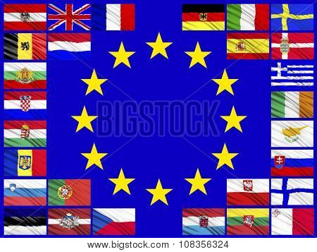 Flags Of Countries Belonging To The European Union