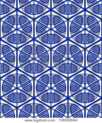 Colored Abstract Interweave Geometric Seamless Pattern. Blue Illusory Backdrop