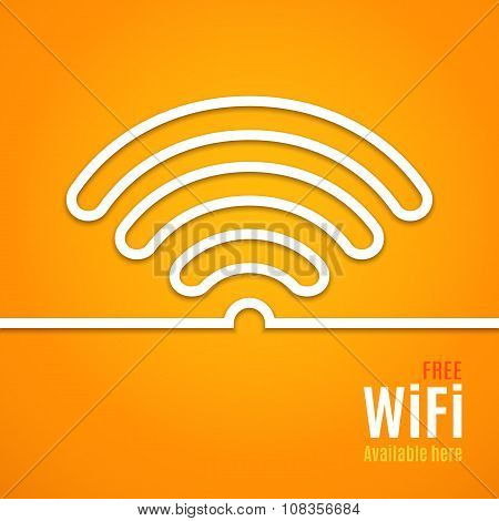 WiFi icon on orange background. illustration