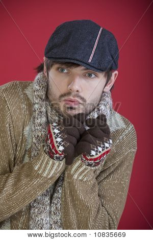Freezing Man In Cap