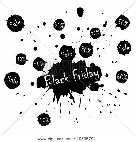 Black Friday Sale poster with blots in vector format.
