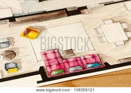 Pink sofa floor plan
