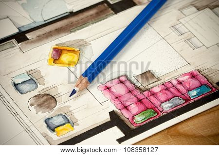 Sharp blue pencil on artistic watercolor floor plan