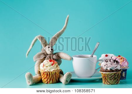 Nostalgic Breakfast Concept. Rabbit Doll With Cup Of Coffee