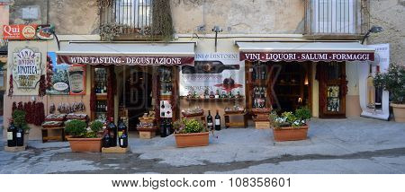 Front of wine shop in Tropea Calabria Italy.