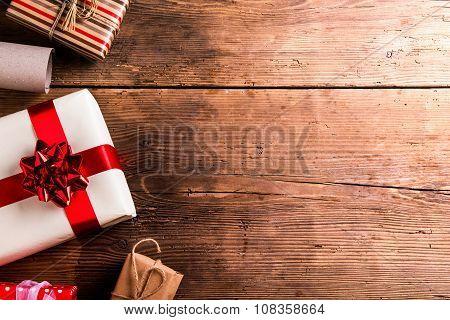 Christmas presents on a table