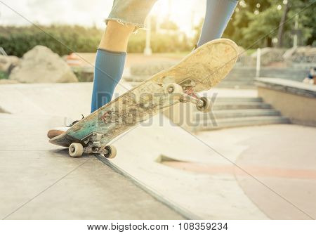 Close Up On A Skater Performing Tricks