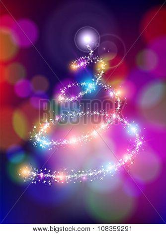 Merry Christmas Bokeh Background Star Pine Tree
