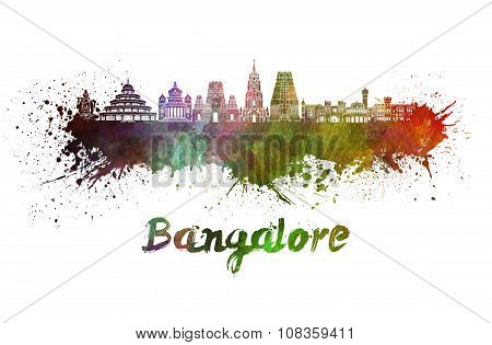 Bangalore Skyline In Watercolor
