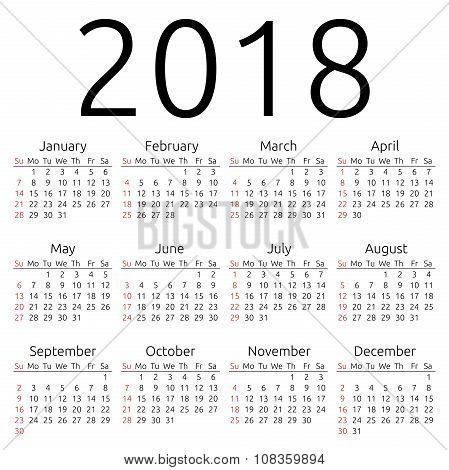 Vector Calendar 2018, Sunday