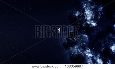 Astronaut alone in deep space. Elements of this image furnished by NASA