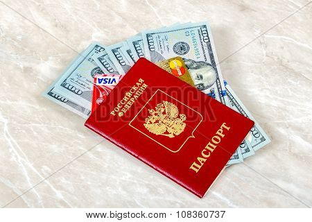 Russian Passport With Visa And Mastercard Debit Card,  American Dollars