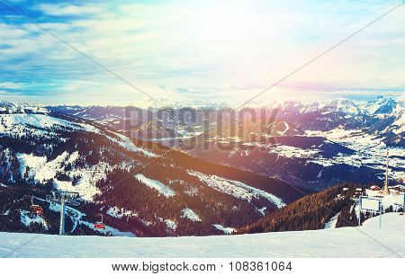 Mountains ski resort in Austria