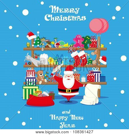 Vector Banner Christmas Shop Wih Santa Claus And Gifts, Toys, Dolls And Present Box Isolated On Blue