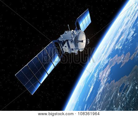 Satellite In Space. 3D Scene.