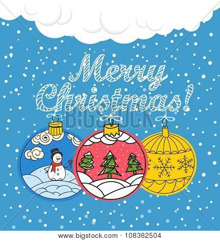 Christmas greating card. Different christmas baubles