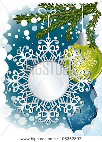 Christmas decorations card with copy space.