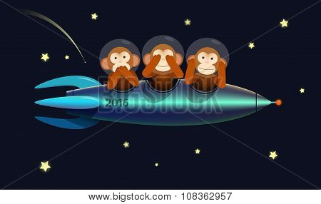 Happy New Year greeting card monkeys 2016
